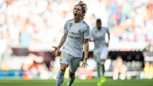 Real Madrid's Luka Modric celebrates after scoring during the Spanish La Liga soccer match between Real Madrid and Granada at the Santiago Bernarbeu stadium in Madrid, Saturday, Oct. 5, 2019. (AP Photo/Bernat Armangue)