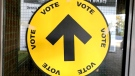 A voting sign is seen at a Toronto polling station on Oct. 21, 2019. (CTV News Toronto / Ron Dhaliwal)