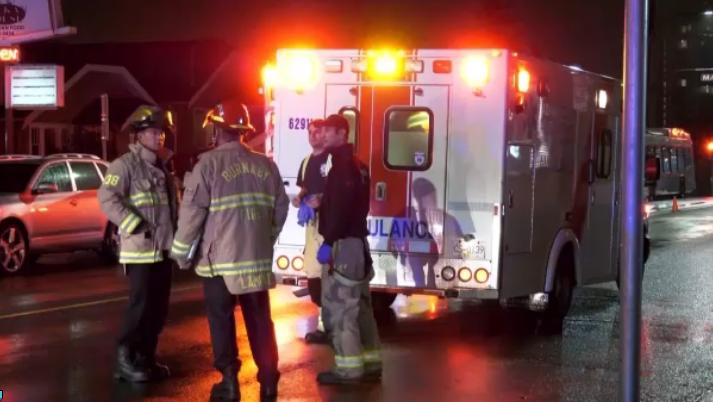 A pedestrian was struck by a van on Edmonds Street in Burnaby on Sunday, Oct. 20. (Photo: Jordan Jiang/CTV News Vancouver)