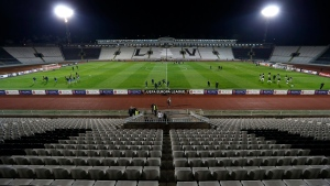 The empty FK Partizan Belgrade stadium before the start of the Europa League group B soccer match between Partizan Belgrade and Dynamo Kiev in Belgrade, Serbia, Thursday, Sept. 28, 2017. The match is played at the empty stadium as punishment for fan racism and crowd unrest during a Champions League qualifying games against Olympiakos and Buducnost. (AP Photo/Darko Vojinovic)