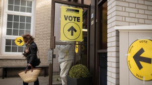 A voter leaves the West Toronto Baptist Church polling station during election day in Toronto on Monday, Oct. 21, 2019. THE CANADIAN PRESS/Tijana Martin