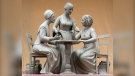 This Oct. 6, 2019 photo provided by Michael Bergmann shows a one-third scale clay model of Sojourner Truth, left, Susan B. Anthony, center, and Elizabeth Cady Stanton at Meredith Bergmann's studio in Ridgefield, Conn. A New York City commission voted Monday, Oct. 21 to erect a tribute to the three civil rights pioneers. Meredith Bergmann's work is to be dedicated next August in Central Park, marking the 100th anniversary of women's suffrage in the United States. (Michael Bergmann via AP)