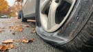 A vehicle that had it's tire slashed is shown: Oct. 21, 2019 (CTV News)
