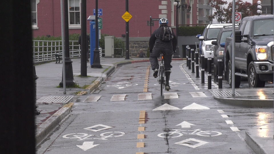 A cyclist makes use of the Wharf Street bike lane: Oct. 21, 2019 (CTV News)