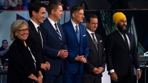 Federal party leaders Green Party leader Elizabeth May, Liberal leader Justin Trudeau, Conservative leader Andrew Scheer, People's Party of Canada leader Maxime Bernier, Bloc Quebecois leader Yves-Francois Blanchet and NDP leader Jagmeet Singh. (THE CANADIAN PRESS/Sean Kilpatrick)