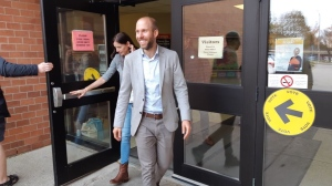 Mike Morrice leaves a polling station on Oct. 21, 2019. (@morricemike / Twitter)