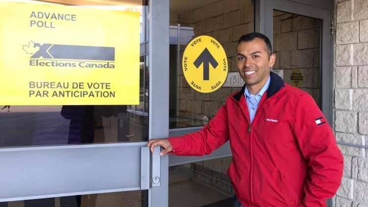 Liberal incumbent Marwan Tabbara after casting his vote at an advance poll. (Source: Tabbara team)