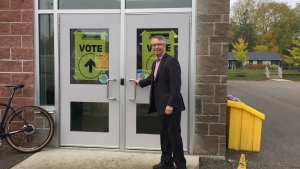 Liberal incumbent Lloyd Longfield votes at a polling station in Guelph on Oct. 21, 2019. (Source: Lloyd Longfield team)
