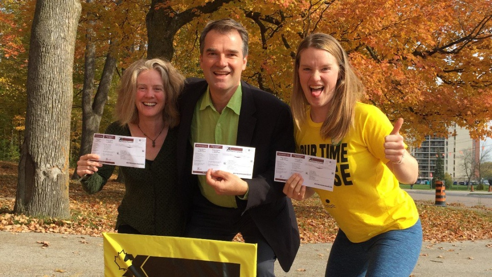 Green Party candidate Steve Dyck (centre) after voting in Guelph. (@SteveDyck / Twitter)