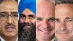 From left: Amarjeet Sohi, Tim Uppal, Randy Boissonnault and James Cumming are all expected to be in close races on election night.