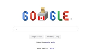 A Google search engine 'doodle' shows a ballot and voting box with a Canadian flag on it for the Oct. 21, 2019, federal election. (Google.ca)