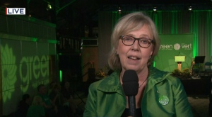 Elizabeth May at the Green party's national headquarters in Victoria. (CTV News)