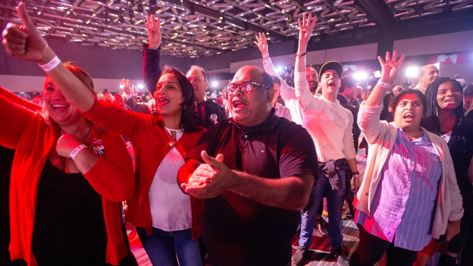 Liberal supporters react to a prediction of a Liberal government at the Liberal election night headquarters Monday, October 21, 2019 in Montreal. THE CANADIAN PRESS/Ryan Remiorz
