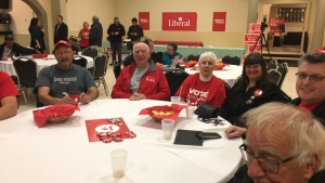 Happy supporters at Liberal Anthony Rota's camp. (Eric Taschner/CTV Northern Ontario)
