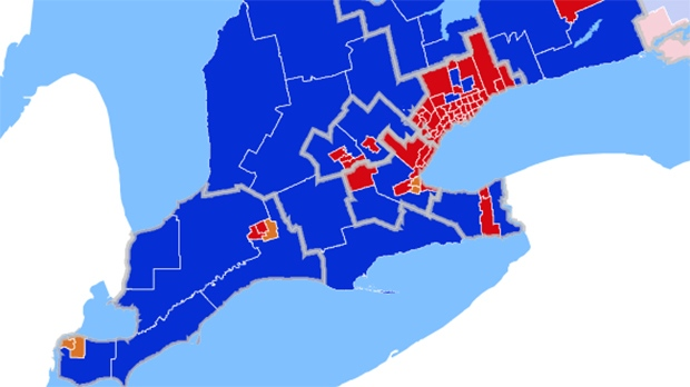 A CTV News map shows the party winners in southwestern Ontario.