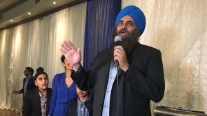 Conservative candidate Tim Uppal gives his winning speech after defeating incumbent Amarjeet Sohi in Edmonton Mill Woods on Oct. 21, 2019. (CTV News Edmonton)