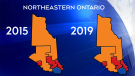 No federal party changes in northeastern Ontario in the 2019 election.