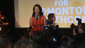 NDP candidate Heather McPherson giving her acceptance speech in Edmonton Strathcona. Oct. 21, 2019. (CTV News Edmonton)