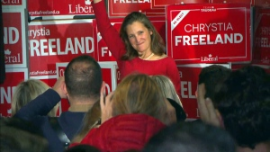 Liberal MP Chrystia Freeland celebrates after being re-elected in her riding of University-Rosedale. (CTV News Toronto)