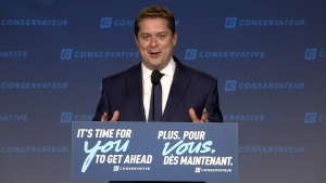 Tory Leader Andrew Scheer speaks from Regina