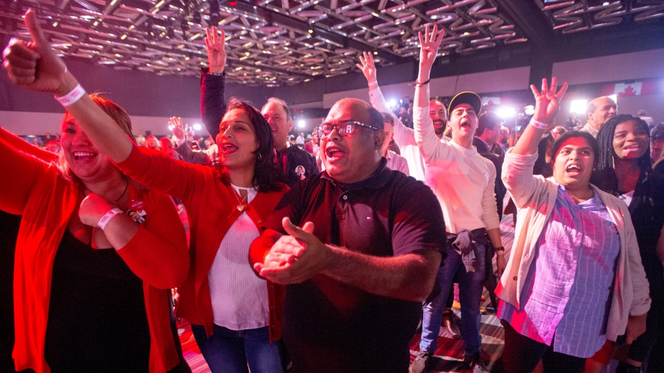 Liberal supporters react to a prediction of a Liberal government at the Liberal election night headquarters Monday, October 21, 2019 in Montreal. (THE CANADIAN PRESS/Ryan Remiorz)