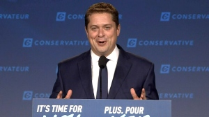 Conservative Leader Andrew Scheer speaks in Regina