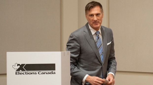 People's Party of Canada Leader Maxime Bernier cast his ballot in Saint-Georges Que., Monday, Oct. 21, 2019. THE CANADIAN PRESS/Jacques Boissinot