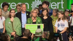 Elizabeth May speaks from her HQ in Victoria