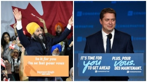 NDP leader Jagmeet Singh and his wife Gurkiran Kaur wave to supporters on stage at NDP election headquarters in Burnaby, B.C. on Monday, Oct. 21, 2019. (THE CANADIAN PRESS/Nathan Denette.) Conservative leader Andrew Scheer appears on stage at Conservative election headquarters in Regina on Monday, Oct.21, 2019. (THE CANADIAN PRESS/Jeff McIntosh)