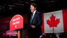 Liberal leader Justin Trudeau celebrates at Liberal election headquarters in Montreal on Tuesday, Oct. 22, 2019. THE CANADIAN PRESS/Sean Kilpatrick