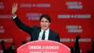 Liberal leader Justin Trudeau speaks to supporters at Liberal election headquarters in Montreal, Tuesday, Oct. 22, 2019. THE CANADIAN PRESS/Paul Chiasson