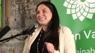 Jenica Atwin, the new Green MP in Fredericton, celebrates her election night win at her victory party in Fredericton, Monday, Oct. 21, 2019. THE CANADIAN PRESS/Kevin Bissett
