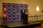 Brad Redekopp speaks to supporters after his win Monday night in Saskatoon.