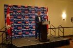 Brad Redekopp speaks to supporters after his win Monday night in Saskatoon.