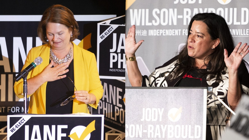 In this combo picture, Independent candidate Jane Philpott, left, greets supporters after losing her Markham-Stouffville and Independent candidate Jody Wilson-Raybould, right, celebrates her election win in Vancouver, B.C. on Monday, October 21, 2019. (THE CANADIAN PRESS/Jimmy Jeong)