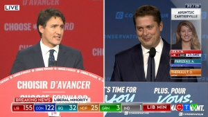 Trudeau takes the stage moments after Scheer