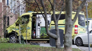 The ambulance after an incident in Oslo