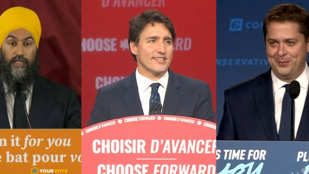 At one point in the early morning hours of Tuesday after the federal election votes had been counted, Jagmeet Singh, Justin Trudeau, and Andrew Scheer were talking to Canadians all at once.