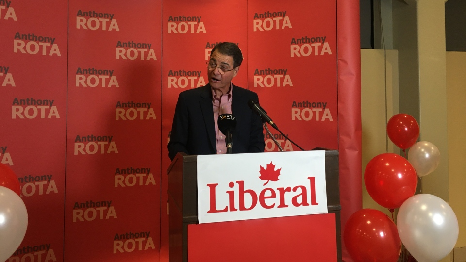 Liberal incumbent Anthony Rota gives victory speec