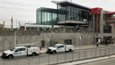 Alstom vehicles parked outside Blair Station, Oct. 22, 2019, as a track switching issue held up LRT service. (Peter Szperling / CTV Ottawa)