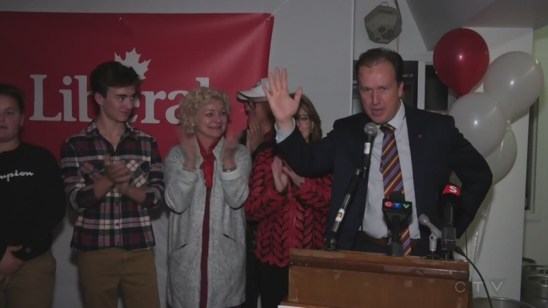 WATCH: Sudbury Liberal incumbent Paul Lefebvre makes victory speech in front of supporters after winning re-election October 21, 2019. (Ian Campbell/CTV Northern Ontario)