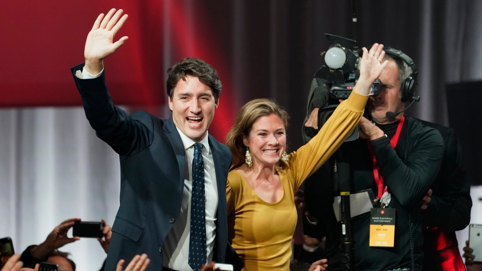 Justin Trudeau on election night