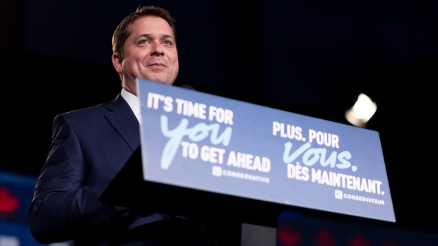 Andrew Scheer speaks to his supporters on the stage at Conservative Party HQ on Election Day in Regina on Monday October 21, 2019. THE CANADIAN PRESS/Michael Bell