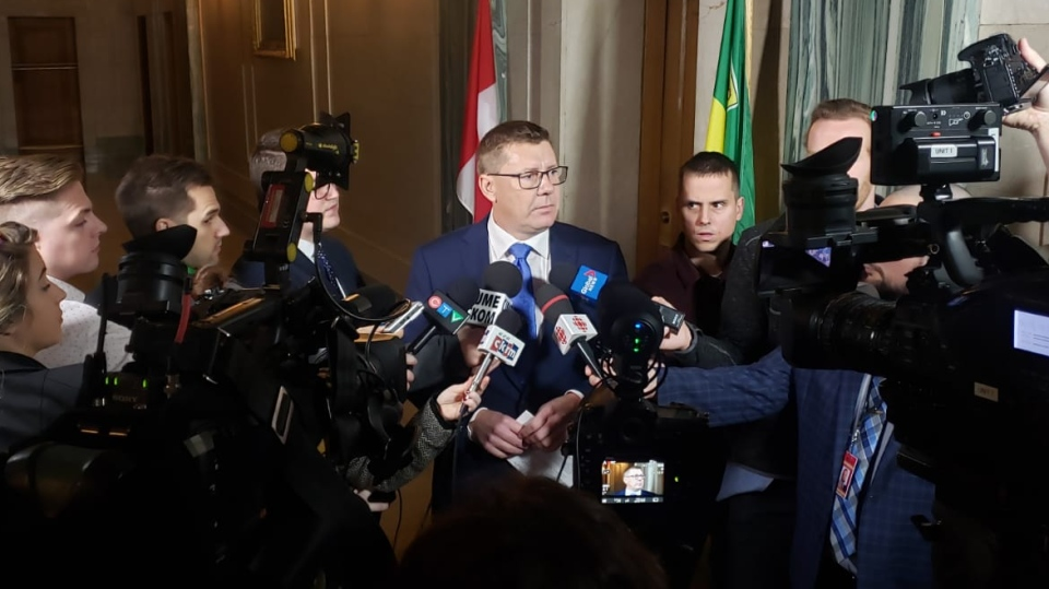 Premier Moe addresses reporters following the federal election. (Jackie Perez / CTV News Regina)