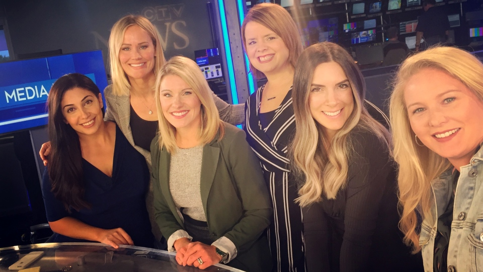 The 'Media Moms' panel, from left, Reta Ismail, Sacha Long, Julie Atchison and Celine Zadorsky of CTV News, Virgin Radio London host Kelly 'KP' Peter and Pure Country 93 host Rachel Gilbert.