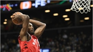 Toronto Raptors forward Serge Ibaka (9) attempts a basket during the second quarter of a preseason NBA basketball game against the Brooklyn Nets, Friday, Oct. 18, 2019, in New York. (AP Photo/Sarah Stier)