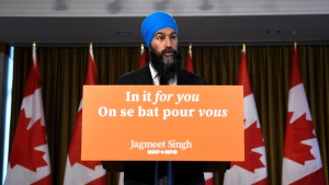 NDP Leader Jagmeet Singh speaks with reporters following the results of the 2019 federal election in Burnaby, B.C., Tuesday, Oct. 22, 2019. THE CANADIAN PRESS/Nathan Denette