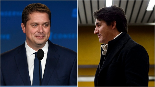 Conservative leader Andrew Scheer appears on stage at Conservative election headquarters in Regina on Monday, Oct.21, 2019. Prime Minister Justin Trudeau waits to greet commuters at a metro station in Montreal, and Tuesday, Oct. 22, 2019. The Canadian Press/Sean Kilpatrick/Jeff McIntosh