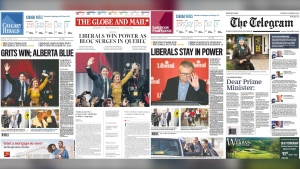 After Prime Minister Justin Trudeau held on to power with a minority government on Monday night, Canadians woke up to very different front pages depending on the newspaper they were reading.