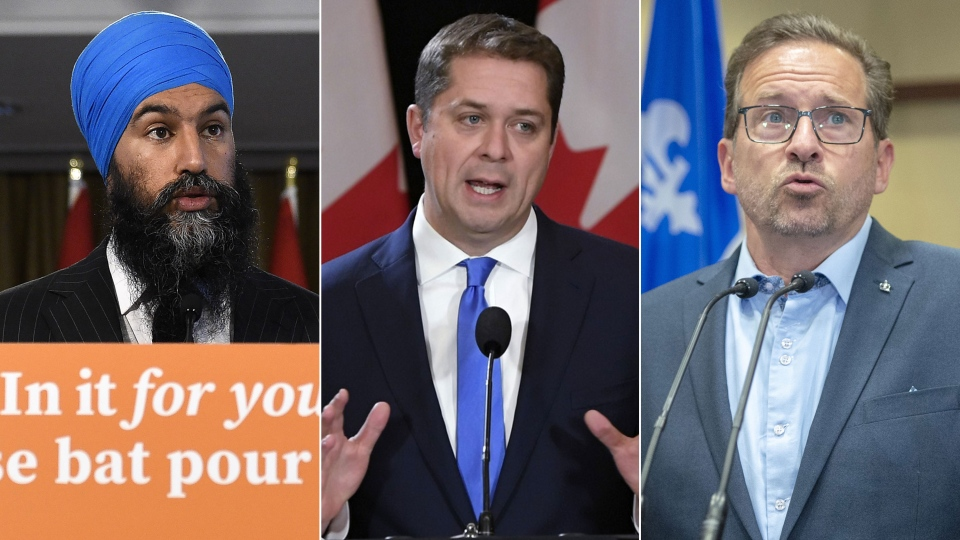 NDP Leader Jagmeet Singh, Conservative Leader Andrew Scheer and Bloc Quebecois Leader Yves-Francois Blanchet are seen in this composite image. (Images from The Canadian Press)